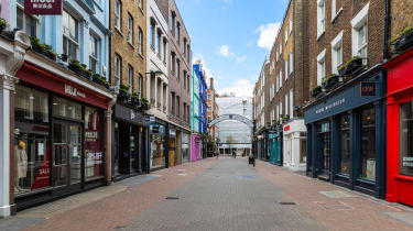The shops of Carnaby Street, London, empty
