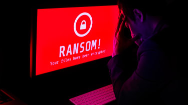 """Red computer screen with """"RANSOM!"""" on it"""