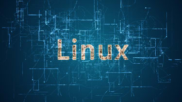 Linux on a blue background with a circuit-board-like graphic