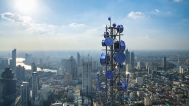 A futuristic 5G mast in the middle of a city