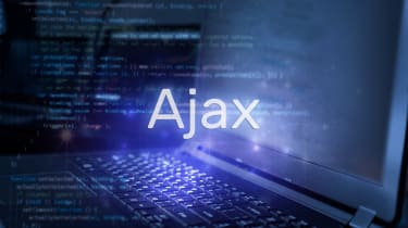 An illustration of the word Ajax on a background of computer code over an open laptop