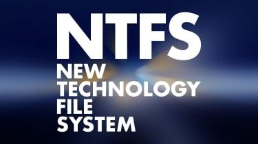 NTFS on a blue background