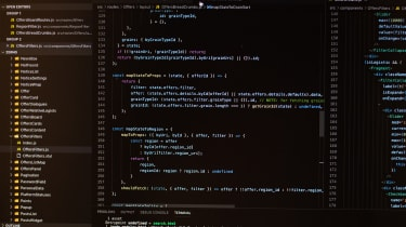 A photo of a code editing programme