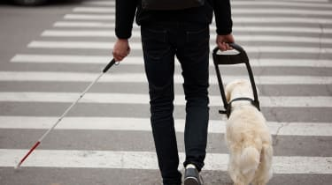 Visually impaired man walking with cane and dog