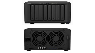 A photograph of the Synology DiskStation DS1821+ front and rear