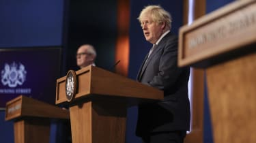The prime minister Boris Johnson during a covid news briefing