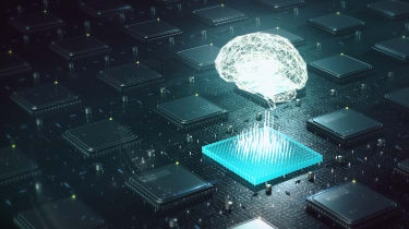 Graphic of a brain floating over silicon chips
