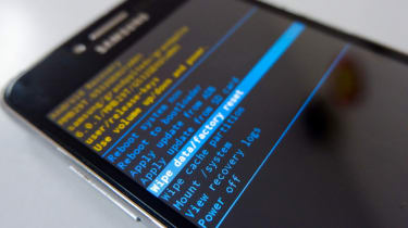 A mobile phone going through a hard reset