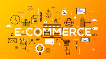 'E-commerce' surrounded by symbols like shopping cart, clock, envelope on an orange background