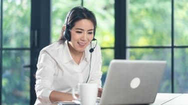 A call centre agent working from home