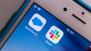 The Salesforce and Slack apps on an iPhone screen