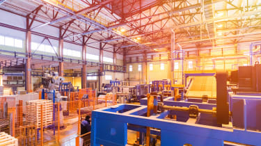 A photo of the interior of a factory