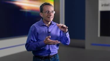Intel CEO Pat Gelsinger delivering a presentation