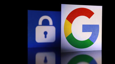 Close up Google logo with the security lock icon isolated on black background