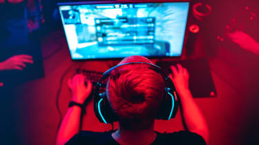 A gamer with neon lights