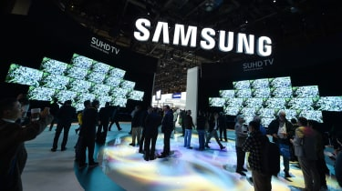 A view of a Samsung product show with TVs on display