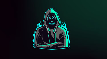 A cartoon of a hacker wearing a black hoodie, with crosses on its eyes and blue flames surrounding it
