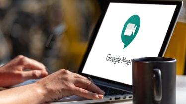 Man logging into Google Meet