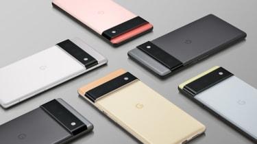 Six Pixel 6 smartphones on grey background