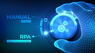 """Digital-looking hand turning a switch from """"Manual"""" to """"RPA"""""""