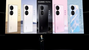 Huawei exec Richard Yu, onstage to reveal the company's latest handsets, the P50