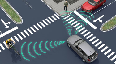 Autonomous car at an intersection with its sensors beaming their signal