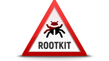"""""""Rootkit"""" and a virus inside a warning triangle"""