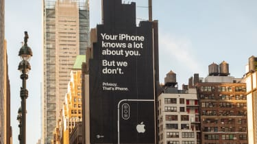 A billboard on the side of a building in Midtown Manhattan informs viewers of the privacy afforded by using Apple devices