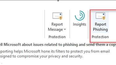 """Screenshot of the """"Report Phishing"""" add-in in Microsoft Office 365"""