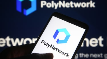 Poly Network logo seen on a mobile phone and a computer screen
