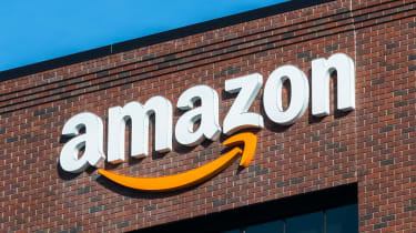 Amazon sign on a brick building