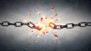 An abstract image of a chain breaking in half to represent a weak link