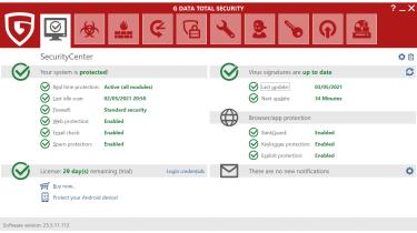A screenshot of G Data Total Security's main dashboard