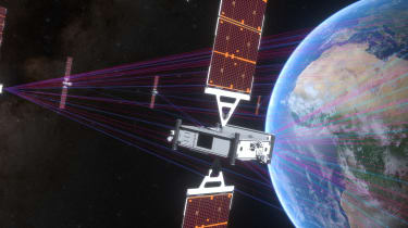 Satellites beaming a signal to Earth