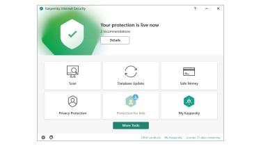 A screenshot of the Kaspersky Internet Security dashboard