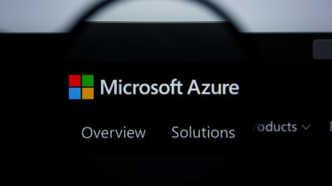 the Microsoft Azure website under a magnifying glass