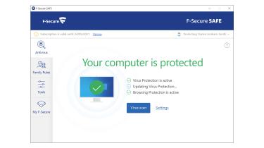 A screenshot of the F-Secure Safe main dashboard