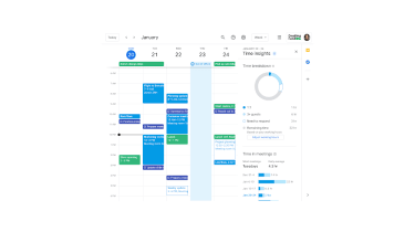 Google Calendar screenshot with new Time Insights features