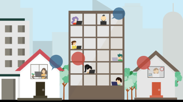 Graphic showing hybrid work with some people in an office building and some people working from home