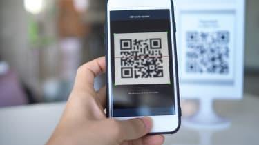 Smartphone scanning a QR code