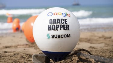 A buoy of the Grace Hopper cable on a Cornwall beach
