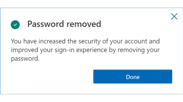 Screenshot of Microsoft message saying that password has been removed