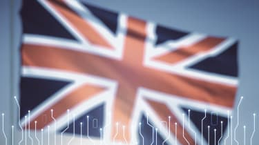 A Union Jack flag with circuits in front of it