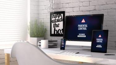 Computer screen displaying parental controls