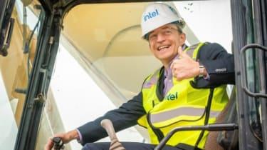 Intel CEO Pat Gelsinger poses in earth-moving equipment in Arizona