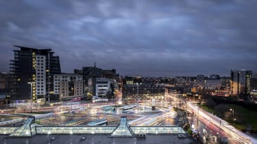 The Leeds cityscape at night