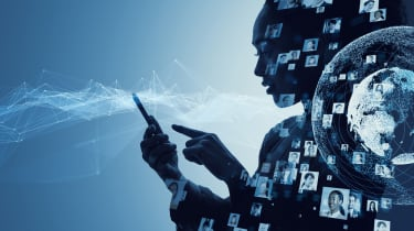 Woman holding phone with network graphics superimposed