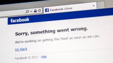 An error message on Facebook's main site