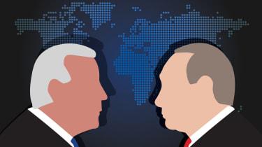 llustration of Joe Biden and Vladimir Putin over world map