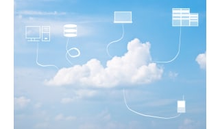 Cloud on blue sky with IoT devices